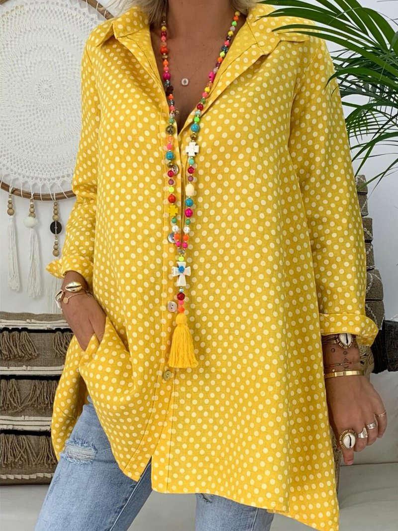 Plus Size Women V Neck Polka Dot Shirt Tops Long Sleeve Loose Blouse Ladies Tops(China)
