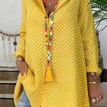 Camisa de talla grande para mujer cuello en V lunares Tops blusa suelta para dama Tops de manga larga