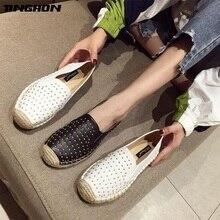 TINGHON Luxurious Fashion Women Ladies Espadrille Shoes PU Rivets Hemps Fisherman Flats