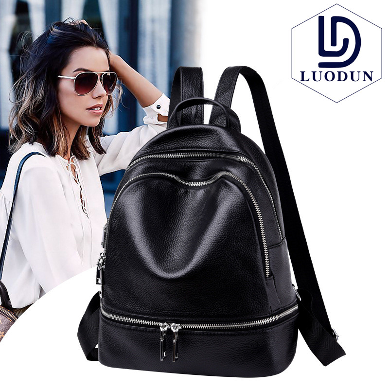 LUODUN 2018 New Backpack Ms. Shoulder Bags Leather Fashion Korean Tide Simple Bag College Wind Mini Schoolbag flb12084 hamburg s new fashion backpack shoulder bag college wind backpack schoolbag shoulder bag personality