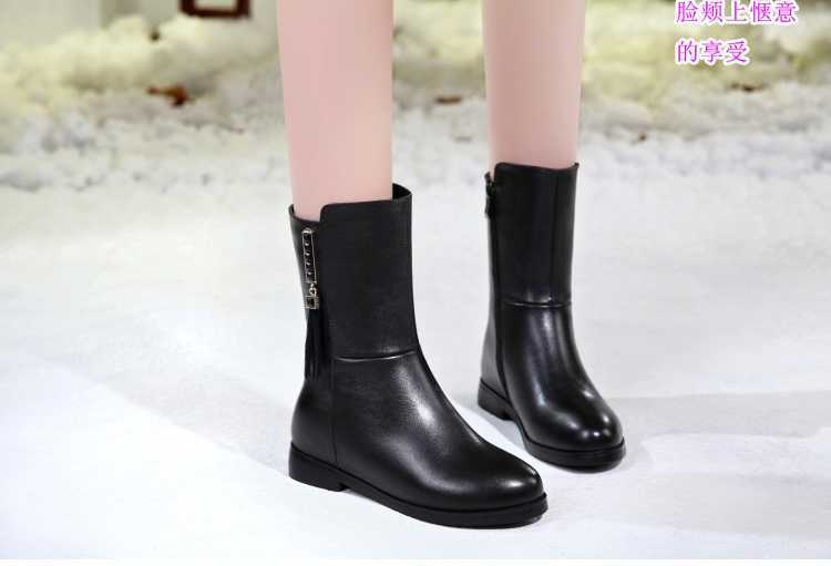 ФОТО Fashion Women's Boots High Quality Leather Black Ankle Boot Shoes for Women Luxury Rhinestone Thick Heels Martin Booties S3289