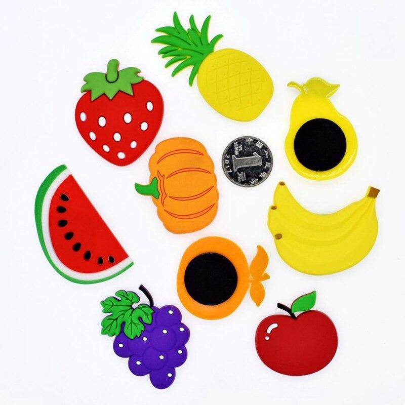 R161 9 De Desconto1 Pcs Miúdos Dos Desenhos Animados Kawaii Frutas Banana Morango Melancia Maçã Pêra Uva Lembrança ímãs De Geladeira Etiqueta