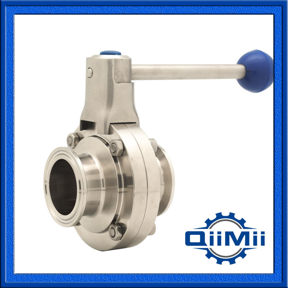 DN50  Tri Clamp Sanitary Stainless Steel 304 Silicon Manual Handle Butterfly Valve
