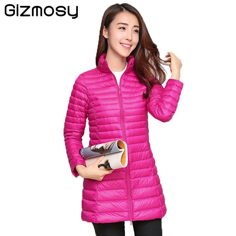 2017 Casual Ultralight Down Coat Women Winter Jacket Plus Size Down long Jacket Thin Warm Slim Cotton Coat Overcoat BN908