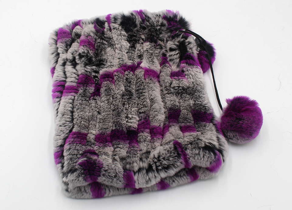 Womens Winter Hats Scarf Knitted Real Rabbit Fur Hat Natural fur Neck Scarf Girls Winter Warm Hat Beanies (16)