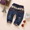 1-4 T de Alta Qualidade da Roupa Do Bebê Das Meninas Dos Meninos Calças Jeans Calças Jeans Macio Kawaii Bordados Roupa Dos Miúdos Da Criança Bebe Calça Jeans