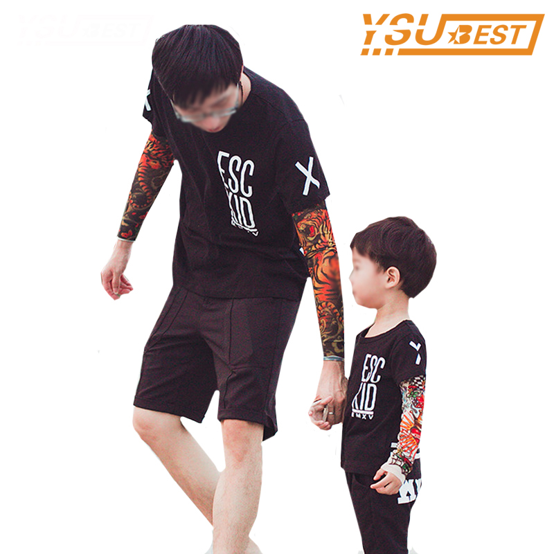 Family Look Baby Boys Girls T Shirts Family Matching Clothes Children T Shirts Tattoo Pattern Sleeve Mesh Cotton Tops Kids Tees