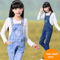 Primavera 2016 Novas Roupas Meninas das Crianças Denim Macacão Suspensórios Calças Macacão Jeans Menina Coreana Grande Virgem