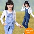 Primavera 2016 ropa de Los Nuevos Niños Niñas Denim Overoles Coreana Grande Virgen de Las Ligas Del Mono Muchacha de los pantalones Vaqueros