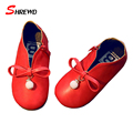Girl Kids Shoes 2016 New Autumn Fashion Solid Color Girls Shoes Leather Bow Retro Children Shoes Insole 13.5-22cm 9336W