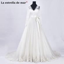 Vestido de casamento 2018 new lace long sleeve a Line Ivory white wedding dress long beautiful bruijsjurken custom-made