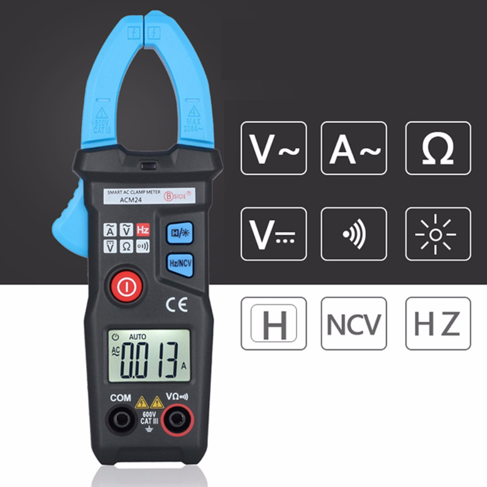 Intelligent Digital Clamp Meter BSIDE ACM24 Professional Multimeter AC Current Voltage Resistance Measuring Multi Tester