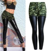 CWLSP 2017 Autumn Camouflage leather Patchwork Pencil Pants Women Back Zipper Boyfriend Style Cool Jeans Female Trousers Bottom