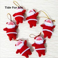 30pcs Lot Wholesale Small Santa Claus Christmas Tree Ornaments Christmas Supplies Decorative Gift Key Ring For