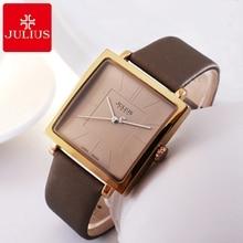 Reloj de pulsera de cuero genuino de las mujeres calientes Relojes cuadrados de mujeres Reloj de cuarzo de moda casual original Julius 354 relojes