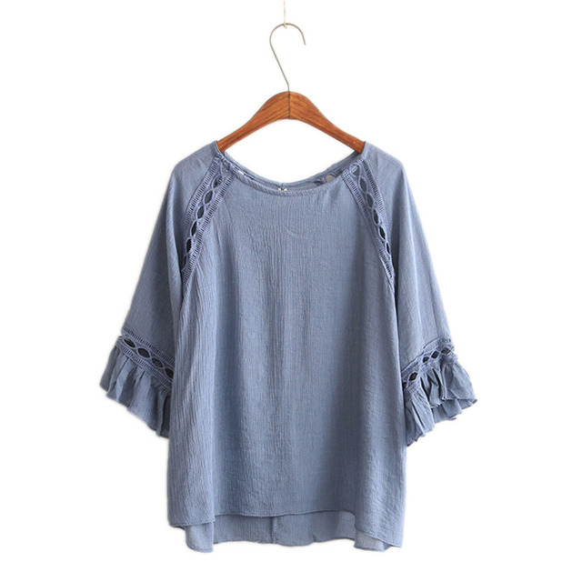Women Blouses Summer Shirts Casual Loose Hollow Flare Sleeve Blouse Shirt Blusas y Camisas Mujer Chemise Femme New Clothing
