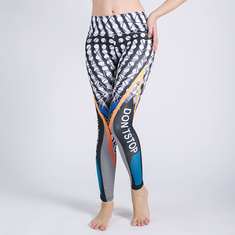 New Geometric Lines Print Leggings Put Hip Elastic High Waist Slim Fitness Legging Pants Elastic Casual Workout Leggings