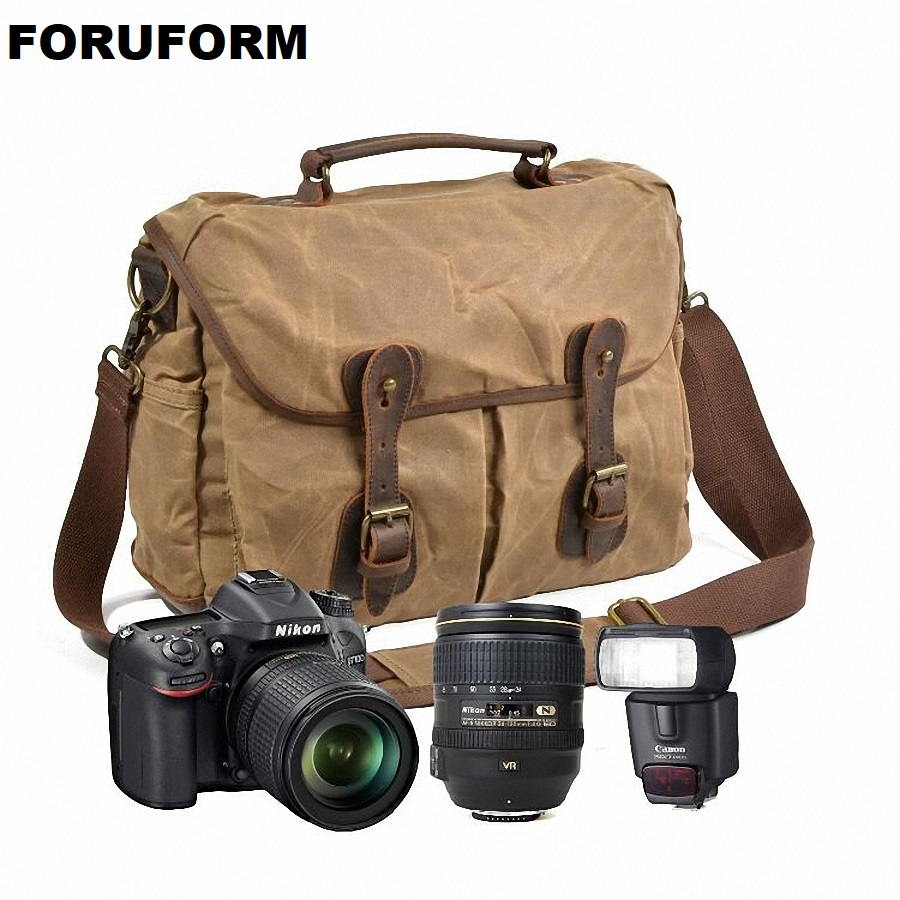 Waterproof Canvas Vintage DSLR SLR Camera Shoulder Bag Men's Vintage Canvas Leather Messenger Bag for Canon For Nikon LI-2290 national geographic leather travel camera bag soft photography bag shoulder messenger bag for canon nikon digital slr laptop