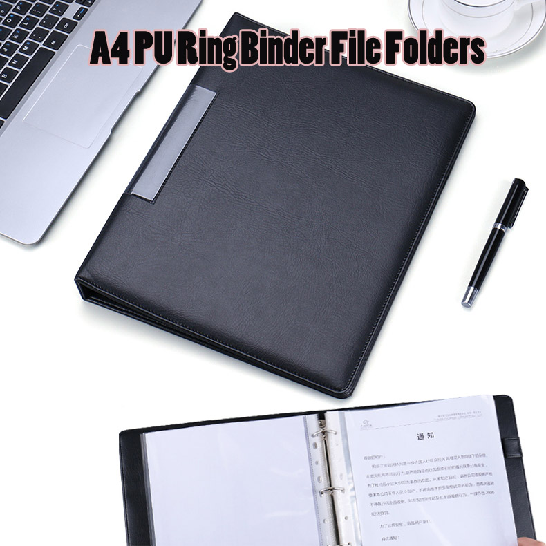 A4 leather ring binders portfolio file organizer paper bag artist canvas document holder menu folder cover office supplies files hua jie pu leather portfolio pocket folder card holders a4 paper file document organizer bag for meeting menu covers restaurants