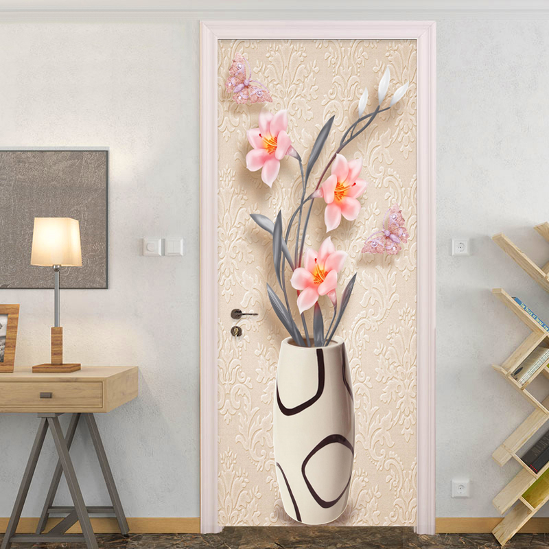 PVC Self Adhesive Waterproof Mural Wallpaper 3D Stereo Fashion Simple Vase Flowers Door Sticker Living Room Bedroom Home Decor sea view new diy door mural wallpaper sticker modern simple bedroom living room door 3d poster murals pvc waterproof home decor