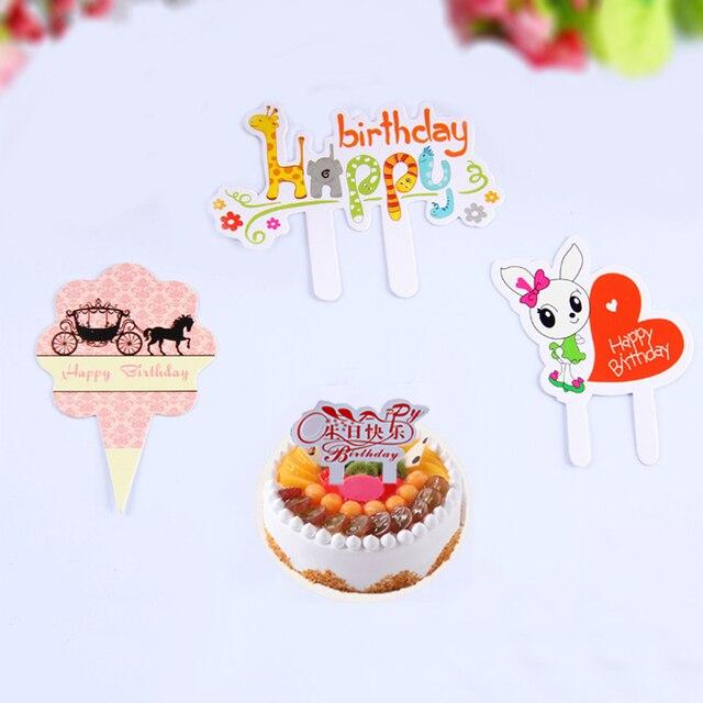 50 Pcslot Cartoon Happy Birthday Cake Decoration Card Cupcake