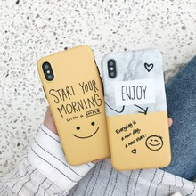 Cartoon Cute Smile Emoji Phone Case For iPhone Xr XS MAX X Simple English 6 6S 7 8 Plus Soft Back Cover Couples Coque