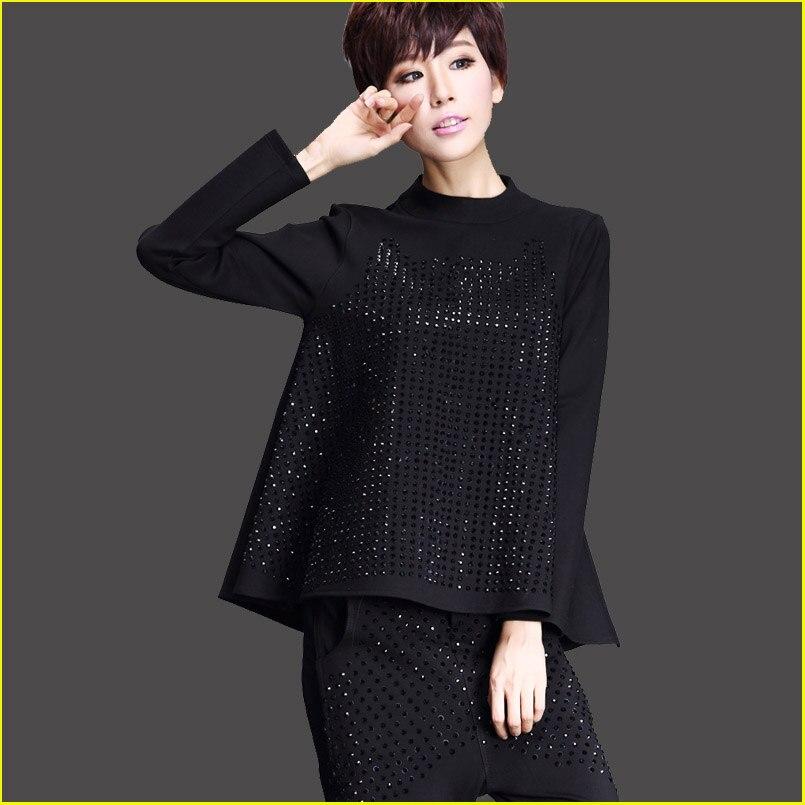 Debout Plus Mode A Col ligne Casual Noir Femmes Automne Femme shirt Américain La Printemps Strass Harajuku Taille 2017 T OqY4ZW