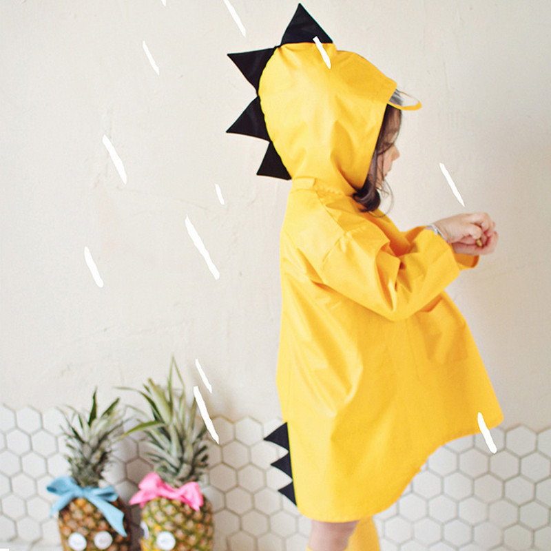 VILEAD Cute Small Dinosaur Waterproof Polyester Rain Coat Boy Children Girls Windproof Poncho Kindergarten Student Baby Raincoat