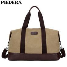 PHEDERA New Large Capacity Canvas Travel Duffle Bags Casual Men Outdoor Luggage Handbag Khaki Black Shoulder