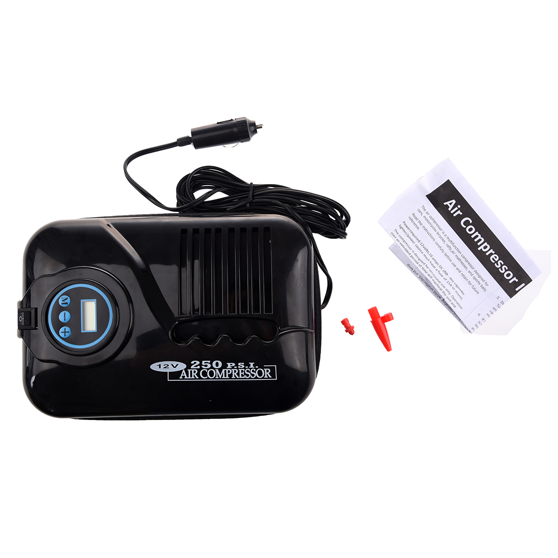 Black Digital Portable Electronic Tyre Air Compressor 12V Car Tire Inflator Digital Tyre Inflating Pump 250PSI portable 12v 250psi car tire inflator pump auto car pump air compressor car motor tyre motorcycle car accessories