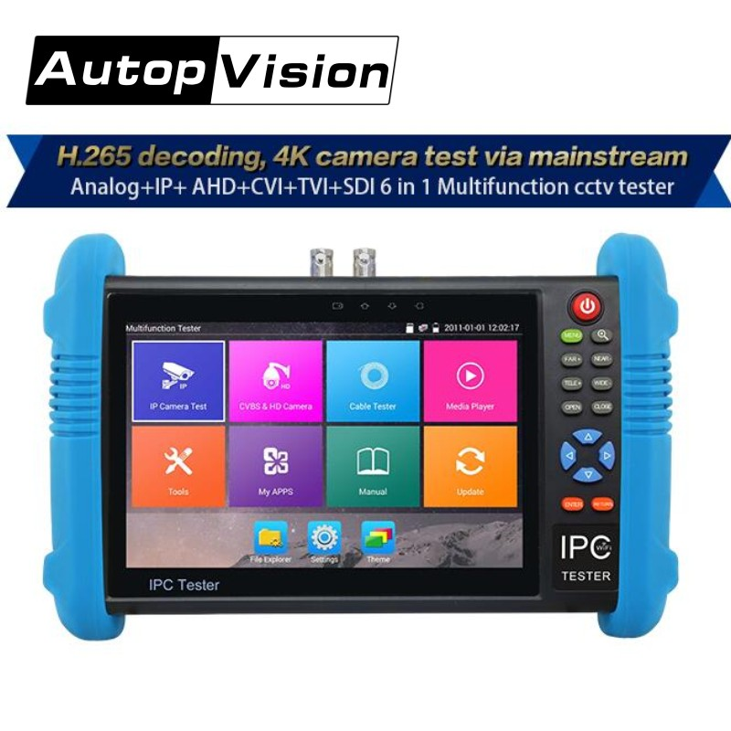 Wanglu IPC9800 Plus 4K H.265/H.264 CCTV Camera Tester 8MP TVI CVI 5MP AHD SDI CVBS IP camera tester monitor with TDR,Multimeter