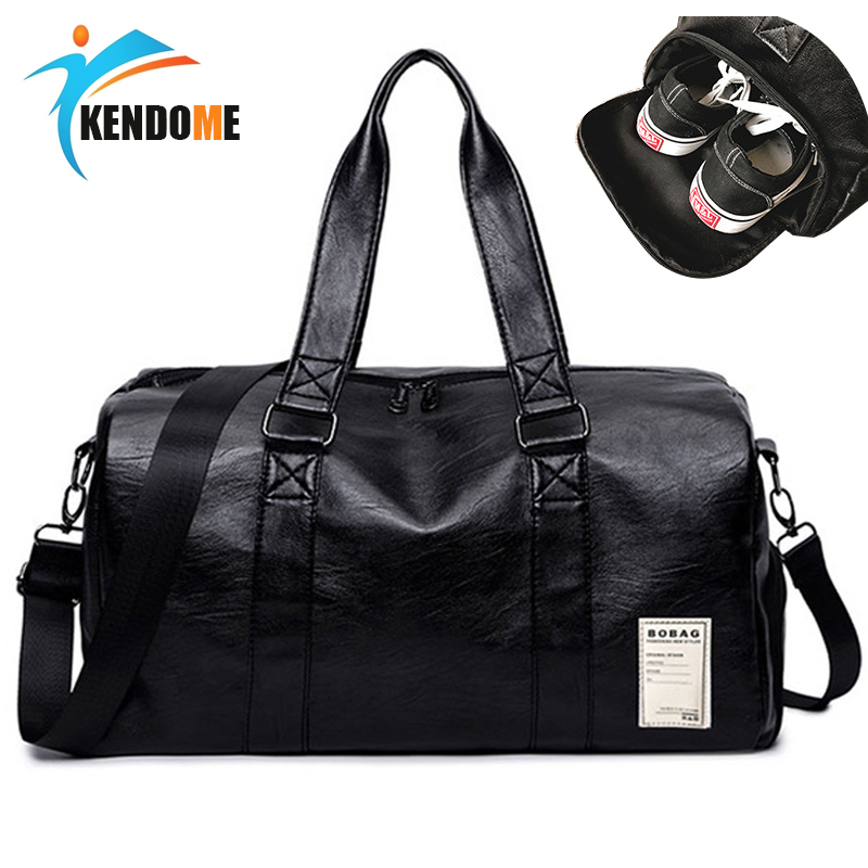 5737f4c8b353 Hot PU Leather Sports Gym Bag For Women Yoga Fitness Bag Outdoor Men s  Training Shoulder Bags