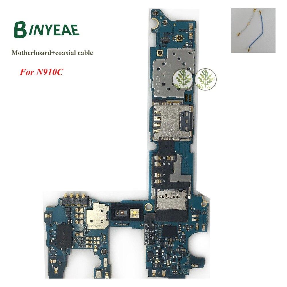 BINYEAE Principal Mère Logic Conseil + câble coaxial 32 GB remplacement pour samsung Galaxy Note 4 N910C N910CQ Débloqué