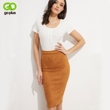 GOPLUS 2019 High Waist Suede Leather Pencil Skirts Women Sexy Back Zipper Split Skirt Ladies Casual Summer Party Female