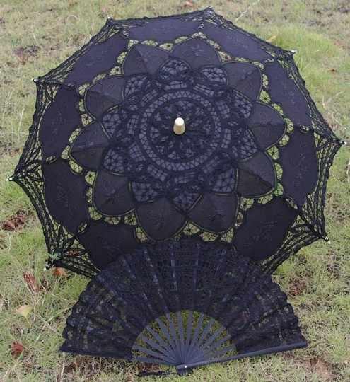 1 компл. (зонтик + вентилятор) 30 ''черный полный Баттен кружева Лолита Солнце Зонтик Свадебные ручной работы 2 дизайн H106s