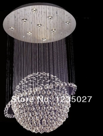 Ball Shape Modern Crystal Chandelier Ceiling Lamp Fixture Global Crystal Pendant Light for Stairs meeting room