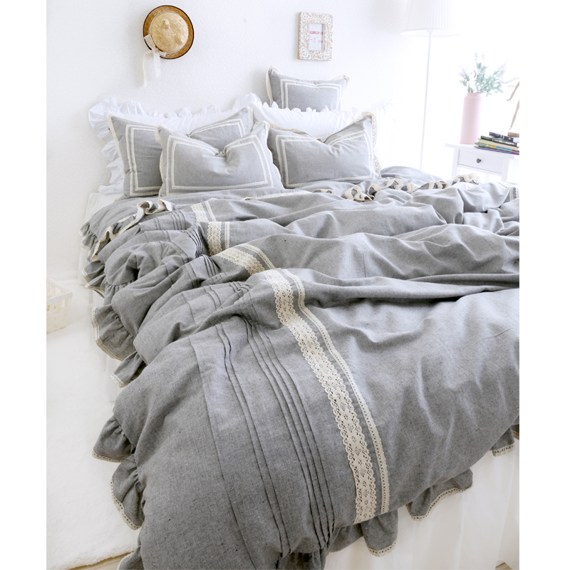 Fashion Princess Lace Pure Grey Bedding Sets Girls Linen