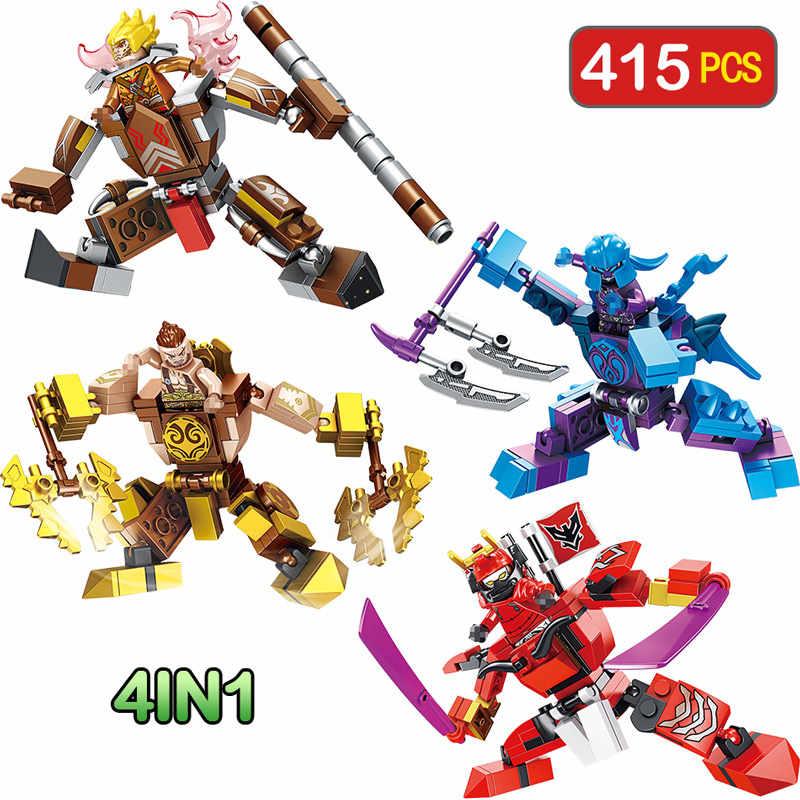 4 в 1 Legoingly кирпичи Мстители Bionicle строительные блоки Романтика царств герои фигурки Обезьяна Король игрушка для детей