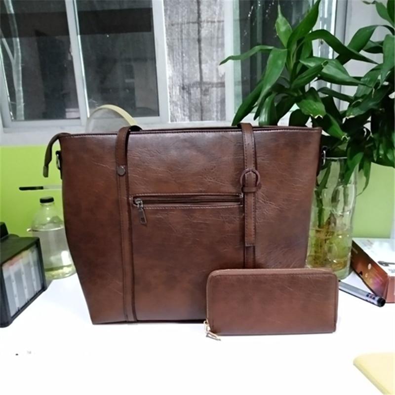 Large Capacity PU Ladies Shoulder Two-piece Handbag