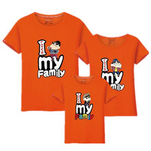 Family Matching Outfits for father mother & Kids summer t-shirt cotton baby daughter dresses boy clothes families dad and son