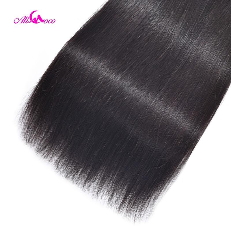 Ali Coco Gerade Haar Bundles Mit Verschluss Brasilianische Haarwebart - Menschenhaar (für Schwarz) - Foto 6