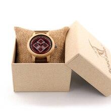 2017 bobo bird mujeres de la marca de relojes 37mm madera de bambú damas relojes de pulsera mujer reloj de señora reloj de cuarzo relogio feminino
