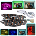 USB 5V RGB LED Strip 1m 2m 3m 3535 CRI90 LED Tape Ribbon Light 6mm for TV Background Lighting Computer Car Bike Decor+Controller