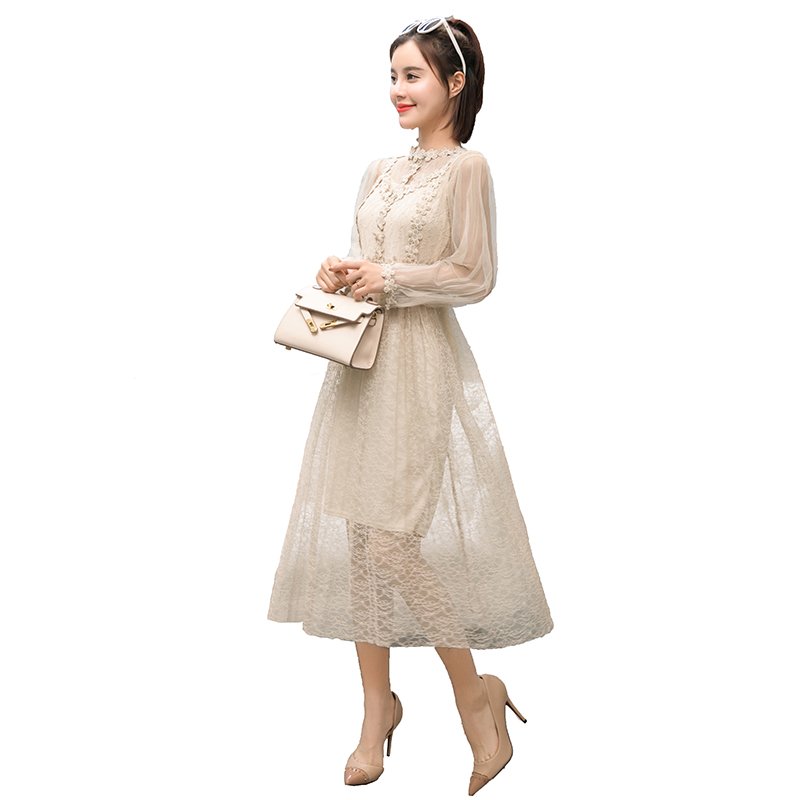 Women dress Lantern Sleeve Floral High Waist Mesh Stand Neck Three dimensional Fantasy Fairy Dresses Apricot 3021
