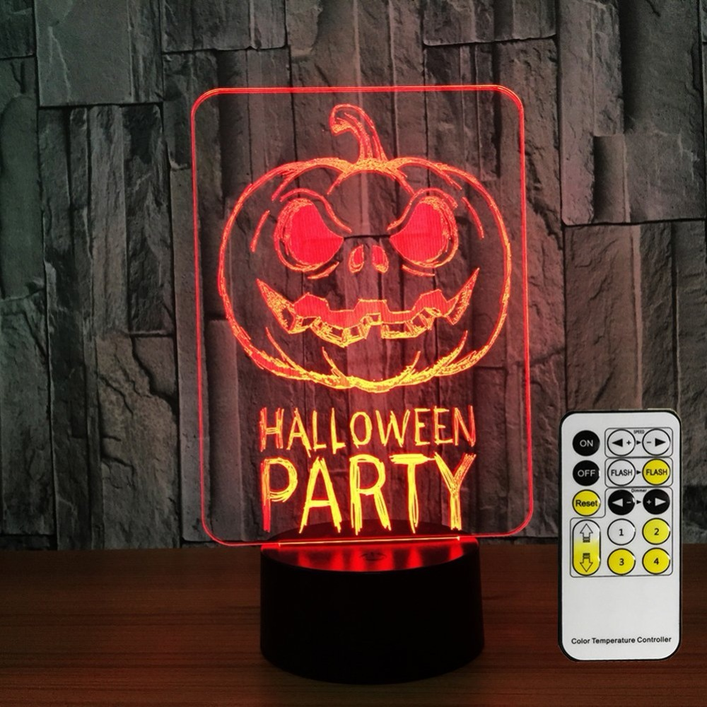 Halloween Pumpkin Party 3D Night Lights for Kids Decorations 7 Colors Change with Remote Baby Night Light Beside Lamp Kids Lamp
