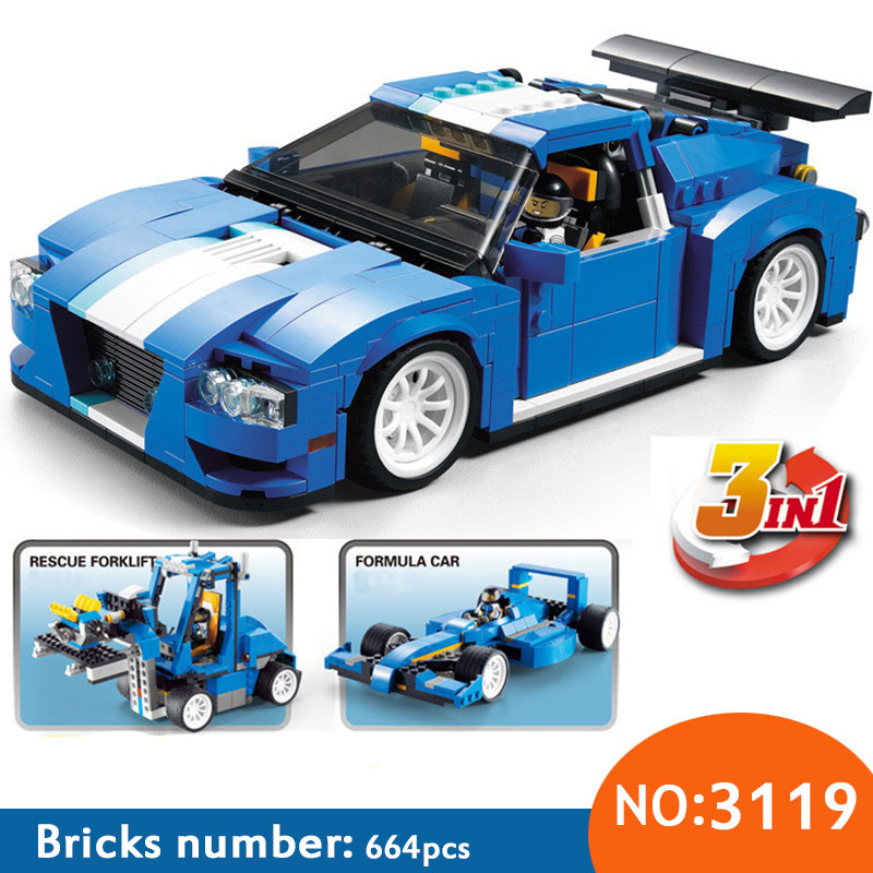 DECOOL 3119 Racer Car Model 3 in 1 Building Block Bricks Toys Compatible 31070 For Children Christmas Gift decool 3116 roaring power architect 3 in 1 dragon building bricks blocks new year gift toys for children model car lepin 31024