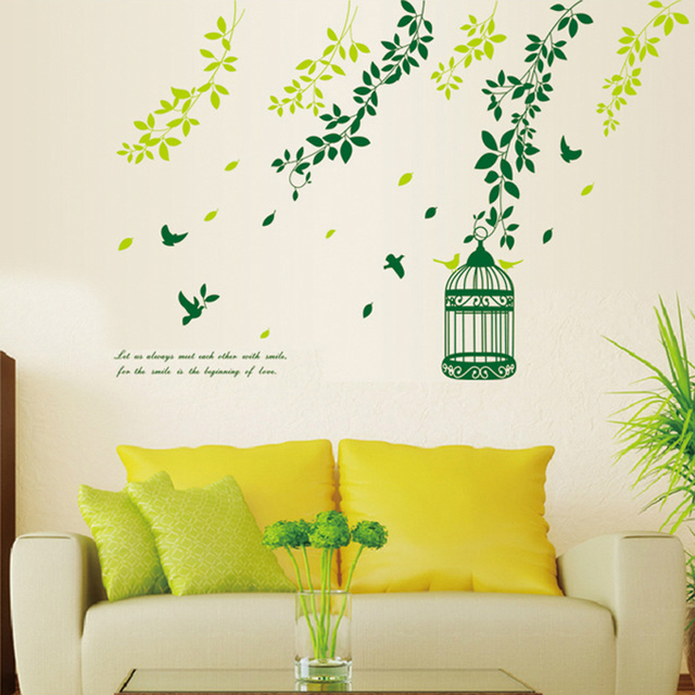 Green Leaves Vine Birdcage Bird Wall Decal Home Sticker Paper Art ...