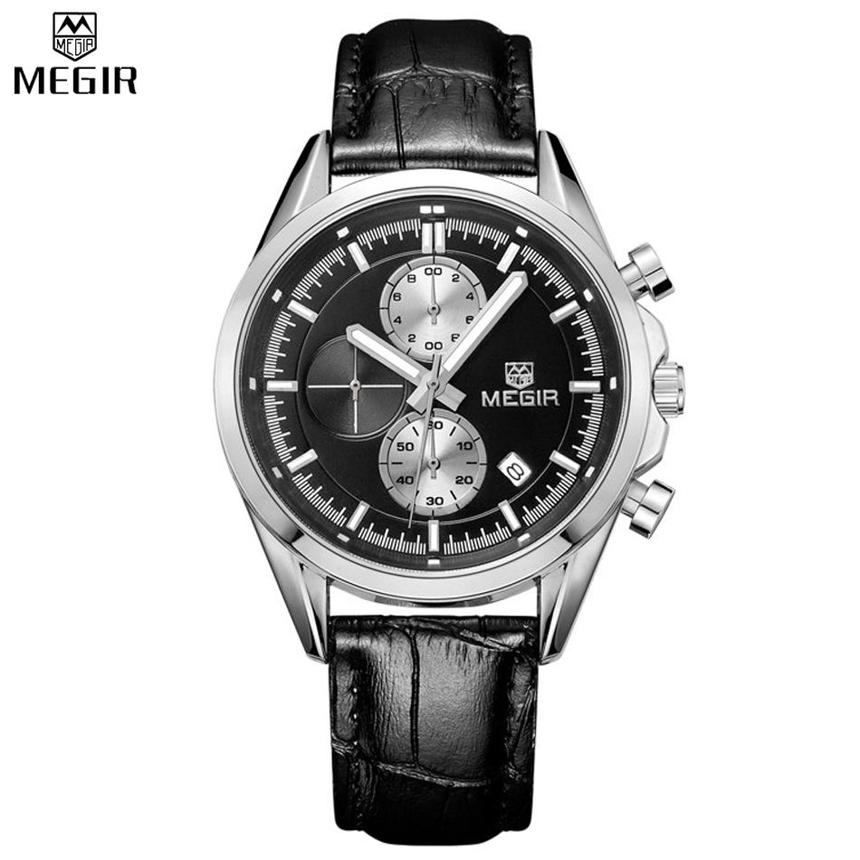 Prix pour Megir d'origine quartz montres hommes chronographe montres top marque en cuir d'affaires hommes militaire montre relogio masculino