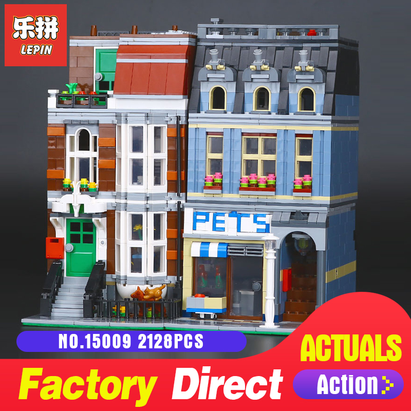 2128Pcs Lepin 15009 City Street Set Pet Shop Model Building Blocks Bricks baby lovely toy LegoINGlys 10218 for Educational Gift цена