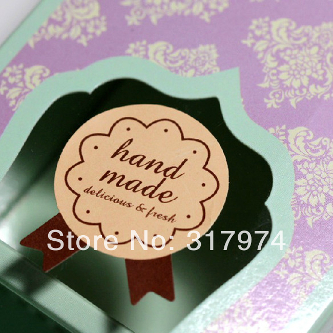 """750 шт форма медали """"ручная работа"""" Печать печенья подарочный стикер, клейкая наклейка STK-001"""
